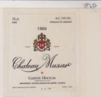 Etiquette De Vin - Plastifiée - VIN DU LIBAN - CHATEAU MUSAR - GASTON HOCHAR - 1969 - Vino Rosso