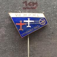 Badge Pin ZN006300 - Airplane (Avion / Flugzeug) Poland Aero Club VII MPML Championships Sosnowiec 1962 - Airplanes