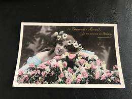 3050 - De CLERMONT FERRAND Je Vous Envoie Un Baiser - 1907 Timbrée - Femme Avec Couronne De Fleurs - Silhouettes