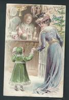 Marché De Noël. Jeune Femme Et Petite Fille. Gaufrée. Signée Mucha. Série 3736. 2 Scans. Rare! - Weihnachten