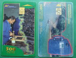 Macedonia Lot Of 2 CHIP PHONE CARDS USED, Operator: MT, 500 Units *MATKA, WORKER*, 1998 - Macedonia