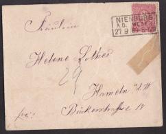 Ei_ Deutsches Reich - Mi.Nr. 41 IV  - Plattenfehler - Brief - Stempel NIENBURG WESER 27.9.89 - Errori Di Stampa