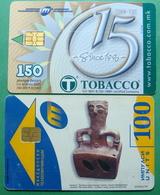 Macedonia Lot Of 2 CHIP PHONE CARDS USED, Operator: MT, 100 & 150 Units *ARCHEOLOGY, TOBBACO*, 1998, 2007 - Macédoine