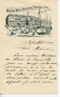 CORRESPONDANCE D'UNE TOURISTE PAPIER A EN-TETE DU GRAND HOTEL BELLEVUE A TROUVILLE SUR MER 1900 - Tourism Brochures