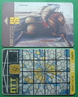 Macedonia Lot Of 2 CHIP PHONE CARDS USED, Operator: PTT & MT, 100 Units *VITRAGE, PAINTINGS*, ND, 2002 - Macedonië