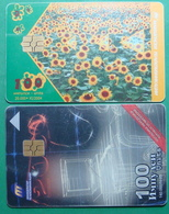 Macedonia Lot Of 2 CHIP PHONE CARDS USED, Operator: MT, 100 Units *SUNFLOWERS*, 2000, 2004 - Macedonia