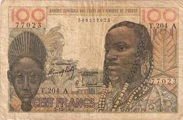 ETATS AFRIQUE OUEST  100 FRANCS   2/2/1964  SURCHARGE   VOIR SCAN RECTO/VERSO - Autres - Afrique