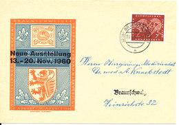 Germany Cover Braunschweig 27-9-1960 (Neue Ausstellung 13-20 Nov. 1960) Single Franked - [7] Federal Republic