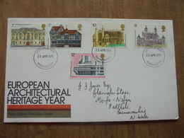 S060: FDC: EUROPEAN ARCHITECTUAL HERITAGE YEAR. 2 X 7p, 8p, 10p, 12p. 23 APR 1975 FIRST DAY OF ISSUE. - FDC