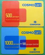 Macedonia Lot Of 2 PREPAID PHONE CARDS USED, Operator: COSMOFON, 500 & 1000 Denars, 2005, 2006 - Macedonia