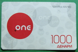 Macedonia PREPAID PHONE CARD USED, Operator: ONE, 1000 Denars, 2011 - Macedonië