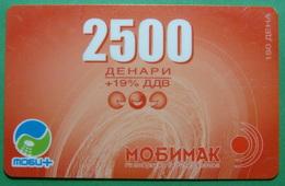 Macedonia PREPAID PHONE CARD USED, Operator: MOBIMAK, 2500 Denars, ND, RARE - Macedonia