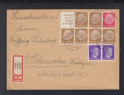 Dt. Reich ZD Auf R-Brief Halle 1943 - Zusammendrucke