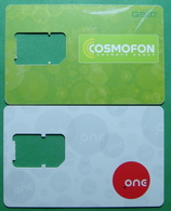 Macedonia Lot Of 2 GSM CHIP PREPAID CARDS USED, Operator: COSMOFON & ONE, ND, - Macédoine