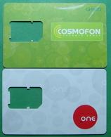Macedonia Lot Of 2 GSM CHIP PREPAID CARDS USED, Operator: COSMOFON & ONE, ND, - Macedonia