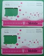 Macedonia Lot Of 2 GSM CHIP PREPAID CARDS USED, Operator: TMOBILE, ND, - Macedonia