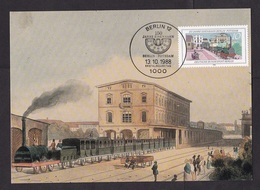 Germany: Maximum Card, 1988, 1 Stamp, 150 Years Train In Berlin, Steam Engine, Railways, Transport (traces Of Use) - Brieven En Documenten