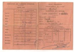 1941 CARCASSONNE / CARTE D'IDENTITE / ALLOCATIONS AU REFUGIES / ETAT FRANCAIS AUDE / MONTREAL   B671 - Historical Documents