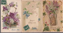 LOT De 6 CPA FANTAISIE GAUFREES - FLEURS MYOSOTIS LILAS - VOEUX - Flowers