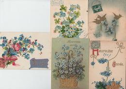 LOT De 5 CPA FANTAISIE GAUFREES - FLEURS MYOSOTIS - VOEUX - Flowers