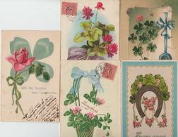 LOT De 5 CPA FANTAISIE GAUFREES - FLEURS TREFLES FER A CHEVAL - VOEUX - Flowers