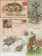 LOT De 5 CPA FANTAISIE GAUFREES - FLEURS MUGUET - VOEUX - Flowers