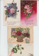 LOT De 4 CPA FANTAISIE GAUFREES - FLEURS ROSES - VOEUX - Flowers