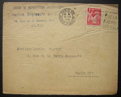 1941 Office De Répartition Du Charbon Direction Régionale De Paris 14 Rue De La Baume - 1921-1960: Periodo Moderno