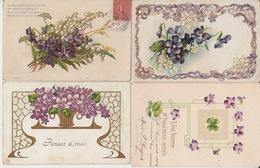 LOT De 4 CPA FANTAISIE GAUFREES - FLEURS VIOLETTES - VOEUX - Flowers