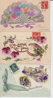 LOT De 3 CPA FANTAISIE GAUFREES - FLEURS PENSEES - VOEUX - Flowers