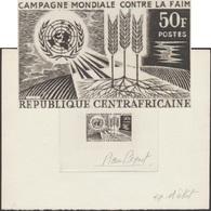 Centrafrique 1965 Y&T 60. Épreuve D'artiste De Pierre Béquet. Campagne Mondiale Contre La Faim. Blé, ONU - Food