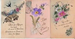 LOT De 6 CPA FANTAISIE PEINTES - FLEURS - VOEUX - Flowers