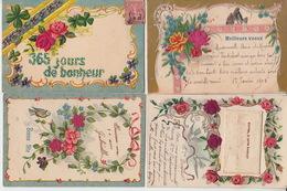 LOT De 4 CPA FANTAISIE GAUFREES - FLEURS ROSES FEUTRINE - VOEUX - Flowers