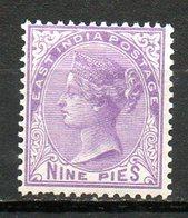 GRANDE-BRETAGNE - (Compagnie Des Indes) - 1874-79 - N° 29 - 9 P. Violet - (Effigie De La Reine Victoria) - India (...-1947)