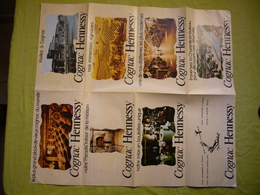 Pub Cognac Hennessy Dépliant Avec Carte Géographique - Publicités