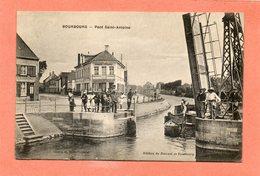 CPA - BOURBOURG (59) - Aspect Du Bar-Tabac Firmin Crépin Près Du Pont-Levis Basculant St-Antoine En 1917 - Francia