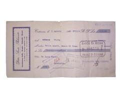 Assegno Del Banco Di Roma - Filiale Di Catania 1 Agosto 1940 - Chèques & Chèques De Voyage