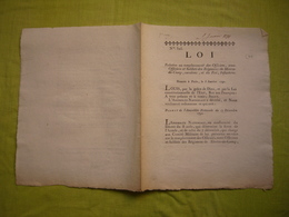 Loi 1791 Remplacement Des Officiers Et Soldats Etc - Décrets & Lois