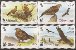 GIBRALTAR 1996 Y&T 783 à 786  Neufs**  Oiseau : Le Milan Royal / Milvus Milvus - Red Kite / WWF - W.W.F.