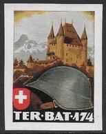 Suisse WWII Vignette Militaire Soldatenmarken TERRITORIAL-TRUPPEN / TROUPES Fine H. Hinge Thin / Aminci - Vignettes