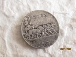 Italia: 50 Centesimi 1919 Leone - 1861-1946 : Kingdom