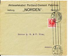 Denmark Cover Aalborg 9-8-1910 Single Franked (Aktieselskabet Portland - Cement  Fabrikken Norden) - 1905-12 (Frederik VIII)