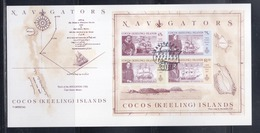 Cocos (Keeling) Islands 1990 Navigators S/S First Day Card - Cocos (Keeling) Islands