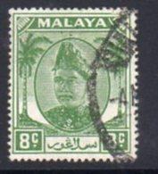 Malaya Selangor 1949-55 Sultan Alam Shah Definitives 8c Green Value, Used, SG 97 - Selangor