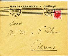 Denmark Bank Cover Odense 2-2-1911 Single Franked (Handelsbanken I Odense) - 1905-12 (Frederik VIII)