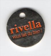 Jeton  De  Caddie  Argenté  Boisson  RIVELLA  Vous  Fait  Du  Bien - Trolley Token/Shopping Trolley Chip