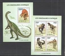 UU538 2014 IVORY COAST FAUNA PREHISTORIC ANIMALS AFRICAN DINOSAURS KB+BL MNH - Prehistorics
