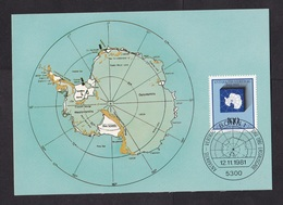Germany: Maximum Card, 1981, 1 Stamp, Antarctic Treaty, Antarctica, Map, South Pole (traces Of Use) - Brieven En Documenten
