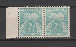 "FRANCE / 1946-1955 / Y&T TAXE N° 82 ** : Gerbes ""Timbre-Taxe"" 2F X 2 En Paire - Gomme D'origine Intacte - Taxes"