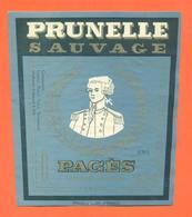 étiquette De Prunelle Sauvage Pagès à Le Puy - 70 Cl - Other